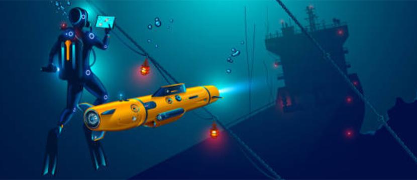 underwater drone and technician