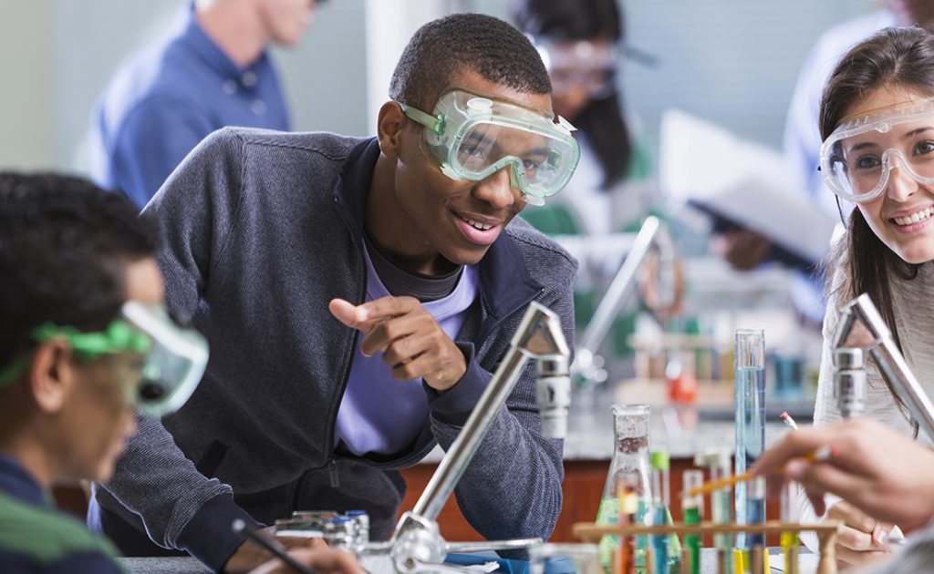 chemistry teacher and class