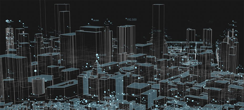 digital visualization of city buildings