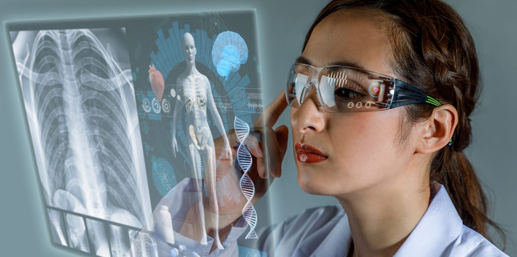 doctor looking at digital x-ray