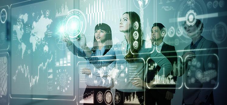 Group of people operating futuristic GUI.